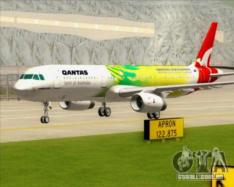 Airbus A321-200 Qantas (Socceroos Livery) para GTA San Andreas vista superior