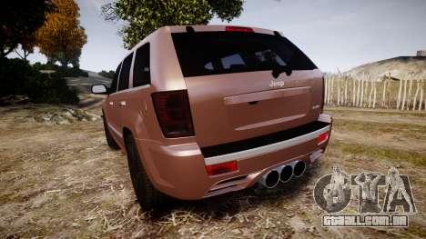 Jeep Grand Cherokee SRT8 rim lights para GTA 4 traseira esquerda vista