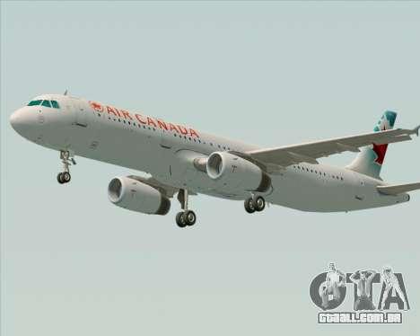 Airbus A321-200 Air Canada para GTA San Andreas traseira esquerda vista