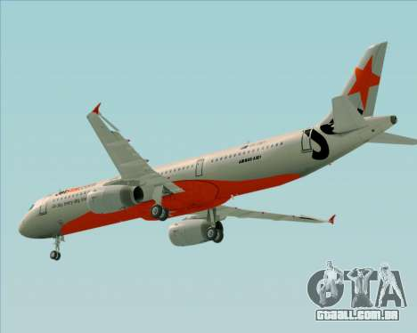 Airbus A321-200 Jetstar Airways para GTA San Andreas vista inferior