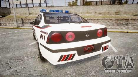 Chevrolet Impala 2003 Liberty City Police [ELS] para GTA 4 traseira esquerda vista