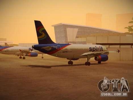 Airbus A319-132 Spirit Airlines para GTA San Andreas traseira esquerda vista
