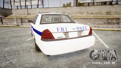 Ford Crown Victoria F.B.I. Police [ELS] para GTA 4 traseira esquerda vista