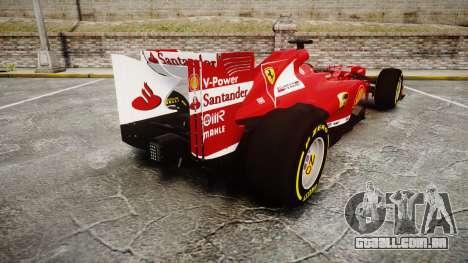 Ferrari F138 v2.0 [RIV] Alonso TSD para GTA 4 traseira esquerda vista