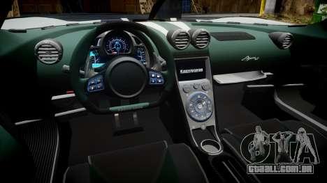 Koenigsegg Agera R 2013 [EPM] v1.5 para GTA 4 vista de volta