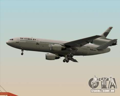 McDonnell Douglas DC-10-30 World Airways para GTA San Andreas traseira esquerda vista