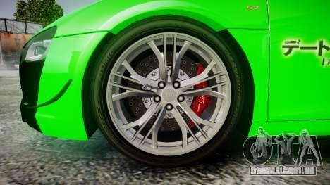 Audi R8 GT Coupe 2011 Yoshino para GTA 4 vista de volta