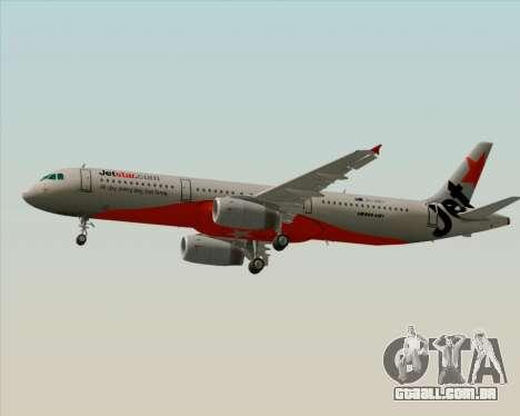 Airbus A321-200 Jetstar Airways para GTA San Andreas traseira esquerda vista