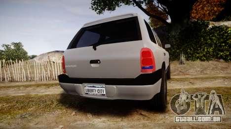Dodge Durango 2000 Undercover [ELS] para GTA 4 traseira esquerda vista