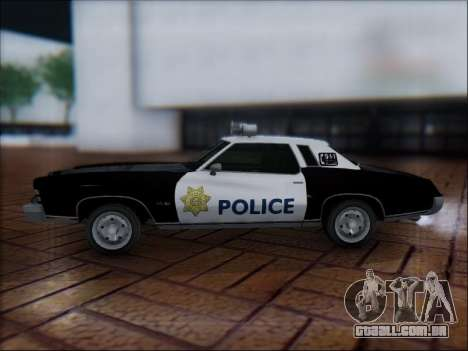 Chevrolet Monte Carlo 1973 Police para GTA San Andreas esquerda vista