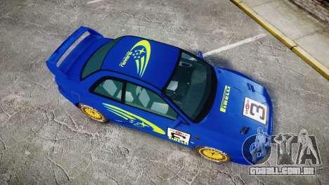 Subaru Impreza WRC 1998 World Rally para GTA 4 vista direita