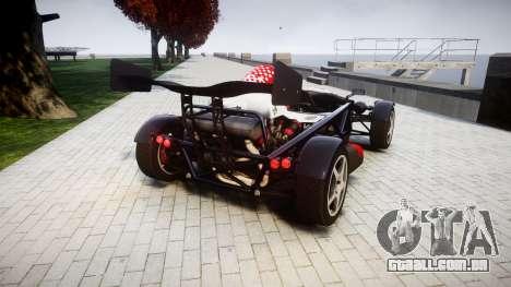 Ariel Atom V8 2010 [RIV] v1.1 Rosso & Bianco para GTA 4 traseira esquerda vista