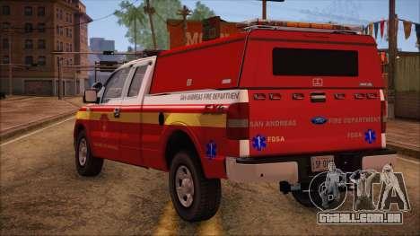 Ford F150 Fire Department Utility 2005 para GTA San Andreas esquerda vista