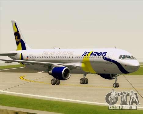 Airbus A320-200 Jet Airways para GTA San Andreas vista inferior