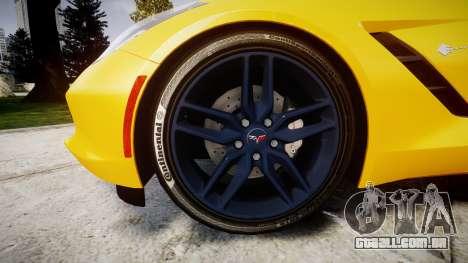 Chevrolet Corvette C7 Stingray 2014 v2.0 TireCon para GTA 4 vista de volta