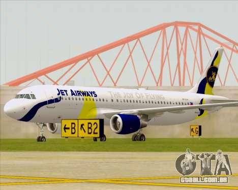 Airbus A320-200 Jet Airways para GTA San Andreas esquerda vista