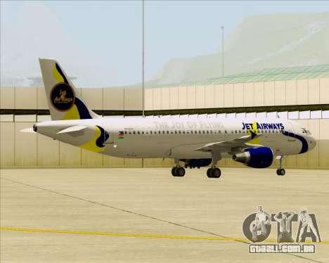 Airbus A320-200 Jet Airways para GTA San Andreas vista interior