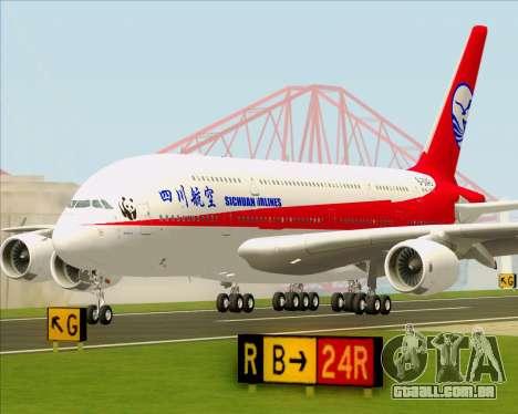 Airbus A380-800 Sichuan Airlines para GTA San Andreas vista superior