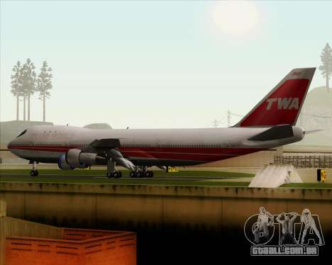 Boeing 747-100 Trans World Airlines (TWA) para GTA San Andreas vista inferior