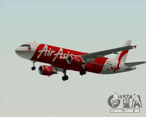 Airbus A320-200 Air Asia Philippines para GTA San Andreas traseira esquerda vista