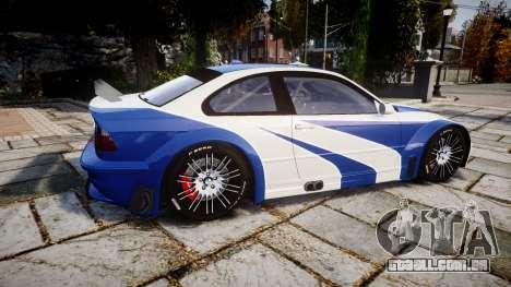 BMW M3 E46 GTR Most Wanted plate NFS Pro Street para GTA 4 esquerda vista