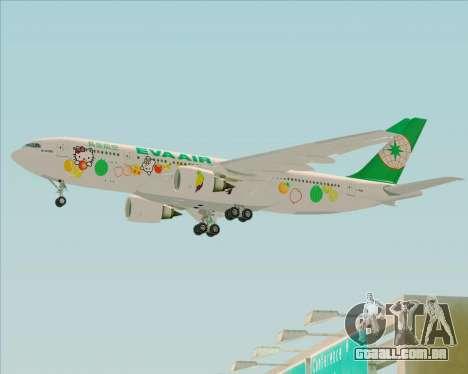 Airbus A330-200 EVA Air (Hello Kitty) para GTA San Andreas traseira esquerda vista