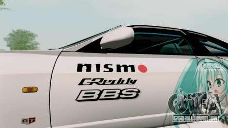 Nissan Skyline GT-R33 para vista lateral GTA San Andreas