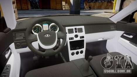 ВАЗ-2170 Instalado Prioresa 2014 para GTA 4 vista interior