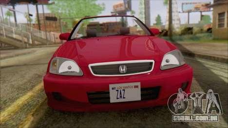 Honda Civic 2000 para GTA San Andreas traseira esquerda vista