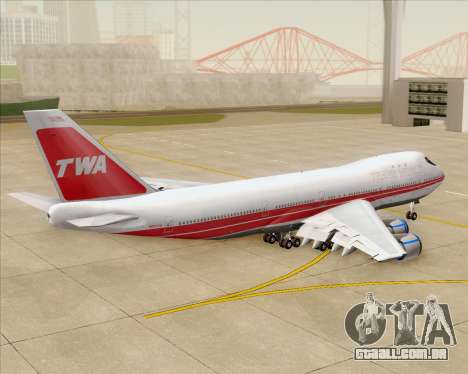 Boeing 747-100 Trans World Airlines (TWA) para GTA San Andreas vista superior