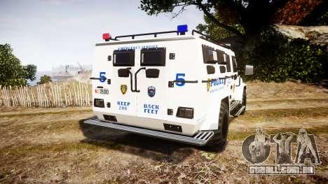 SWAT Van Police Emergency Service para GTA 4 traseira esquerda vista