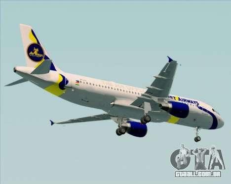 Airbus A320-200 Jet Airways para GTA San Andreas vista traseira