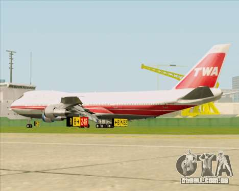 Boeing 747-100 Trans World Airlines (TWA) para GTA San Andreas vista direita