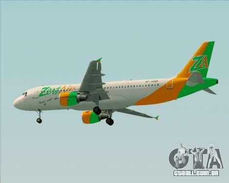 Airbus A320-200 Zest Air para GTA San Andreas vista traseira