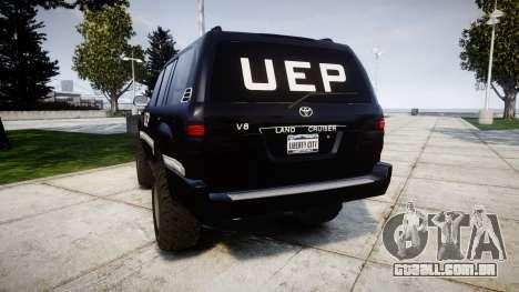 Toyota Land Cruiser 100 UEP [ELS] para GTA 4 traseira esquerda vista