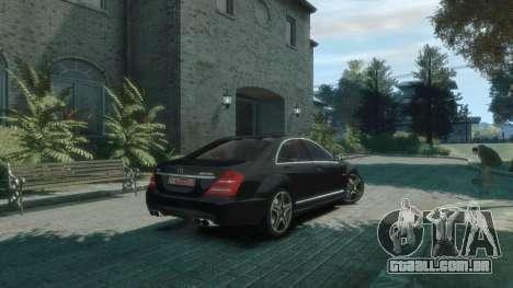 Mercedes-Benz W221 S63 AMG para GTA 4 traseira esquerda vista