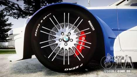 BMW M3 E46 GTR Most Wanted plate NFS Pro Street para GTA 4 vista de volta