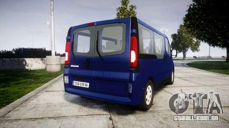 Renault Trafic Passenger para GTA 4 traseira esquerda vista