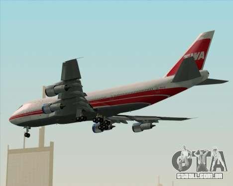 Boeing 747-100 Trans World Airlines (TWA) para GTA San Andreas traseira esquerda vista