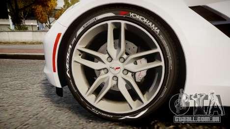 Chevrolet Corvette C7 Stingray 2014 v2.0 TireYA1 para GTA 4 vista de volta
