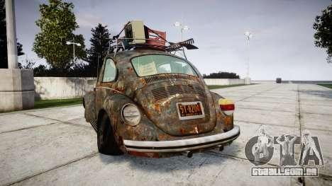 Volkswagen Beetle rust para GTA 4 traseira esquerda vista