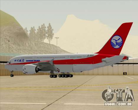 Airbus A380-800 Sichuan Airlines para GTA San Andreas vista inferior
