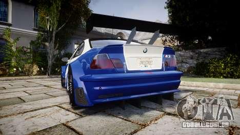 BMW M3 E46 GTR Most Wanted plate NFS Pro Street para GTA 4 traseira esquerda vista