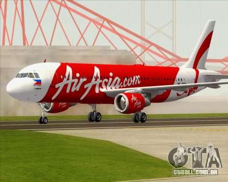 Airbus A320-200 Air Asia Philippines para GTA San Andreas esquerda vista