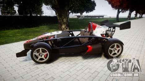 Ariel Atom V8 2010 [RIV] v1.1 Rosso & Bianco para GTA 4 esquerda vista