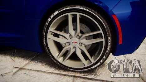 Chevrolet Corvette C7 Stingray 2014 v2.0 TireYA3 para GTA 4 vista de volta