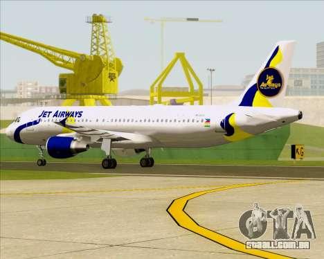 Airbus A320-200 Jet Airways para GTA San Andreas vista superior