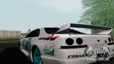 Nissan Skyline GT-R33 para GTA San Andreas traseira esquerda vista