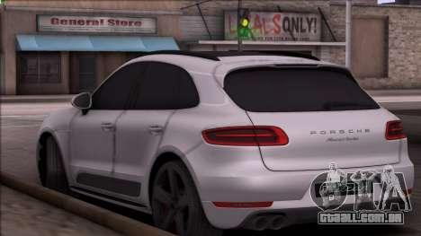 Porsche Macan para GTA San Andreas traseira esquerda vista