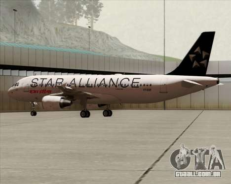 Airbus A320-200 Air India (Star Alliance Livery) para GTA San Andreas traseira esquerda vista